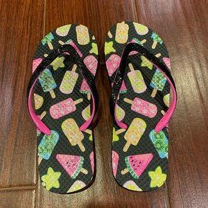 NWOT Girls Size 2/3 Flip Flops Fruit & Sparkles